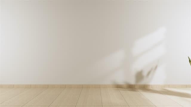 Empty room white on wooden floor interior design.3D rendering