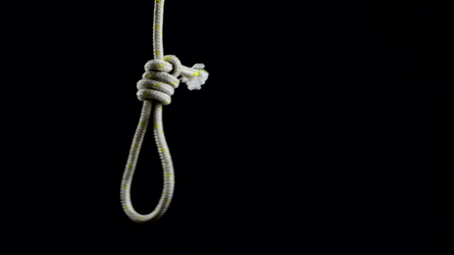 Empty rope noose with hangman's knot. video