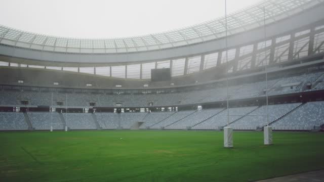 Leeres Rugby-Stadion am Morgen 4k – Video