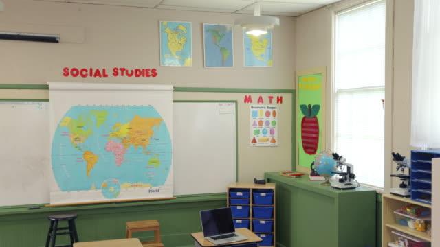 Empty school classroom, jib down video
