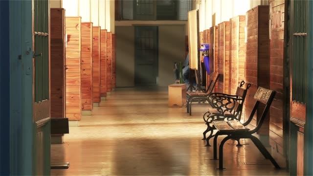 empty school corridor interior. - space background стоковые видео и кадры b-roll