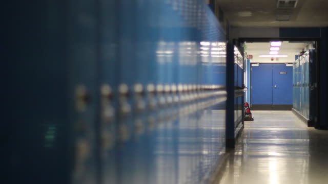 Video Empty School Hallway Lockers Rack Focus
