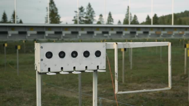 Empty shooting range at biathlon stadium. Biathlon targets shooting