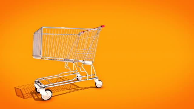 empty shopping cart, 3d rendering - icona supermercato video stock e b–roll