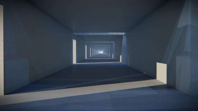 spazio vuoto stanza di cemento con lo spazio e luce incandescente. ed è camminare in avanti, il tratto di cemento blocca lo sfondo, concetto texture concreta, sfondo concreto, riprese video 3d. - cemento video stock e b–roll