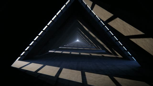 Empty space Triangle corridor with the gap and glowing light. and Is Walk forward continuously. Concept Futuristic Triangle Tunnel, Black Concrete background, 3d video footage. 3d animation. Empty space Triangle corridor with the gap and glowing light. and Is Walk forward continuously. Concept Futuristic Triangle Tunnel, Black Concrete background, 3d video footage. 3d animation. concrete architecture stock videos & royalty-free footage