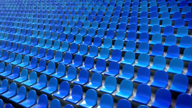 vídeos de stock e filmes b-roll de empty stadium chairs looping 3d animation - campeão soccer football azul