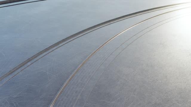 pavimento vuoto in acciaio o cemento nell'architettura futura per l'animazione ad anello sfondo astratto. - alluminio video stock e b–roll