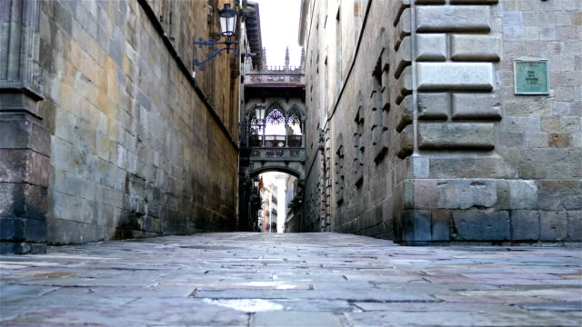 empty street in the gothic quarter of barcelona, dolly - medieval architecture stock videos & royalty-free footage