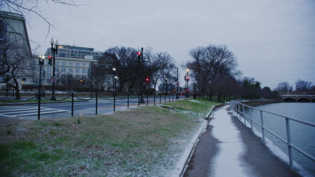 Empty Streets And Snow Near The National Mall During Winter Time In Washington DC