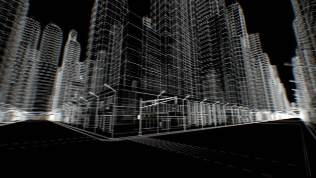 Leere Straßen in abstrakten modernen Stadt bewegt sich durch nahtlose digitale 3D-Blaupause auf Schwarz. Bau- und Technologiekonzept. Looped 3d Animation. – Video