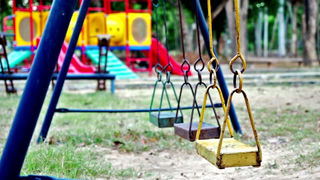 Empty swings swaying at playground video