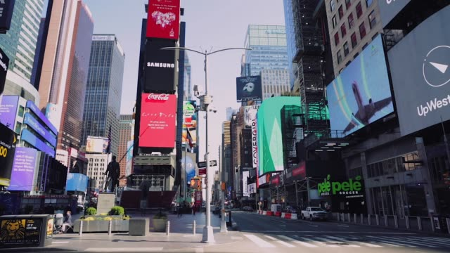 Empty Times Square and streets of Midtown New York City