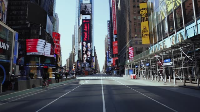 empty times square and streets of midtown new york city - space video stock e b–roll