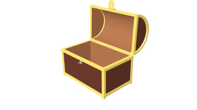 empty treasure chest - scatola del tesoro video stock e b–roll