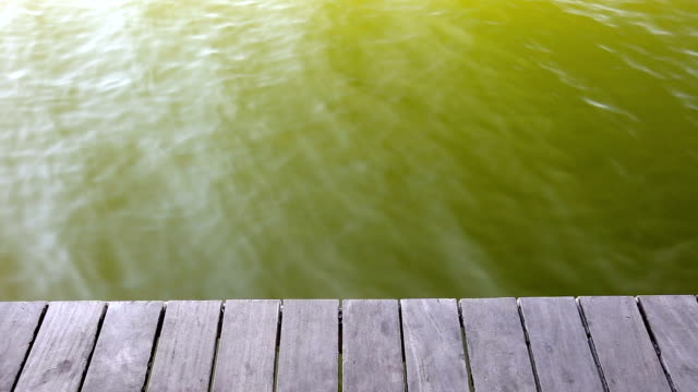 Empty wooden pier with ripple of  water video
