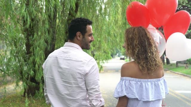 Enamored people celebrate valentines