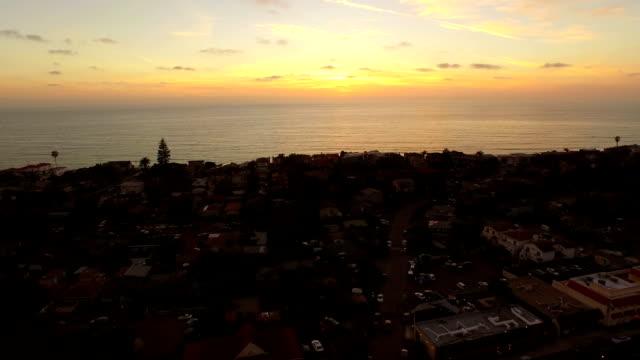 Encinitas Aerial Ocean Sunset video