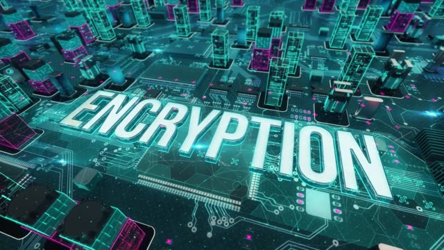 Encryption with digital technology concept