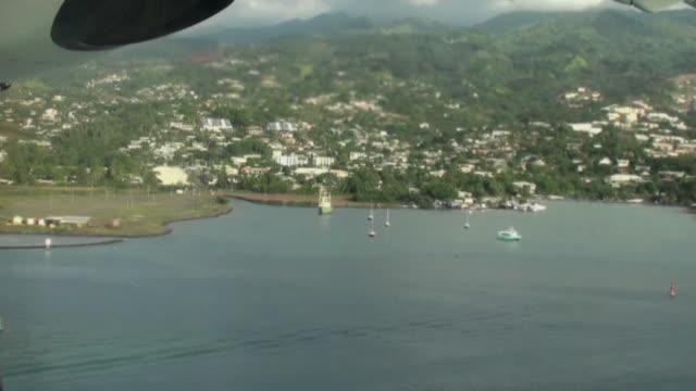 End of flight; landing on Moorea Island airport video