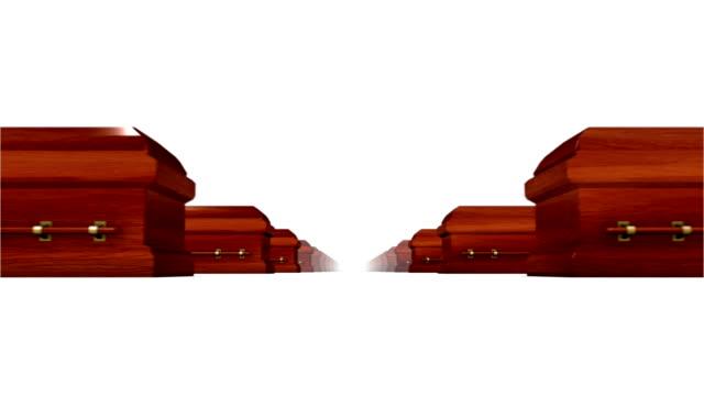 Endless Coffins (wood) low angle loop video
