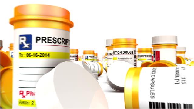 endless empty pill bottles low angle - amfetamin pills bildbanksvideor och videomaterial från bakom kulisserna