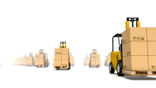 Endless forklifts with boxes low angle loop video