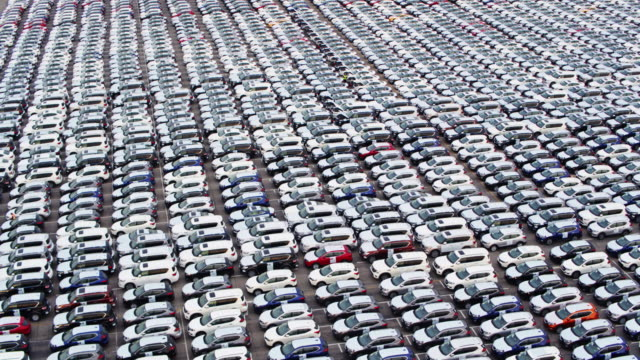 Endless Grid of Imported Cars - Drone Shot video