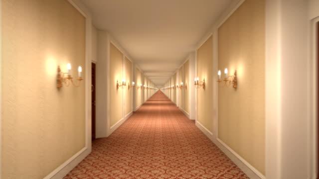 infinite hotel corridoio - lungo video stock e b–roll