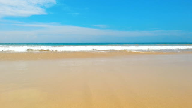 Endless ocean waters, waves slowly come ashore. Relaxing atmosphere, meditation video