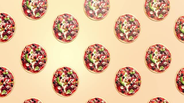 endless pizza movement, advertising background. - cultura italiana video stock e b–roll