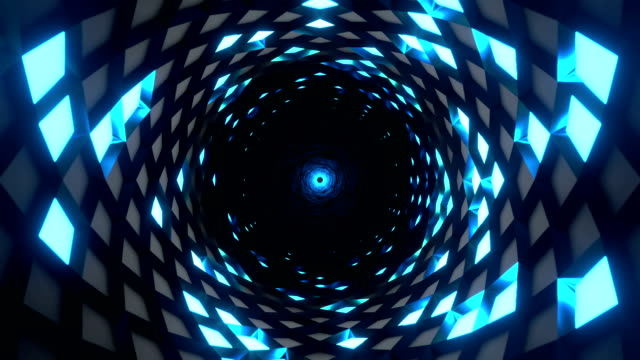 Endless rotating tunnel with blue square lights. Loop ready computer generated animation of a tunnel. twisted stock videos & royalty-free footage