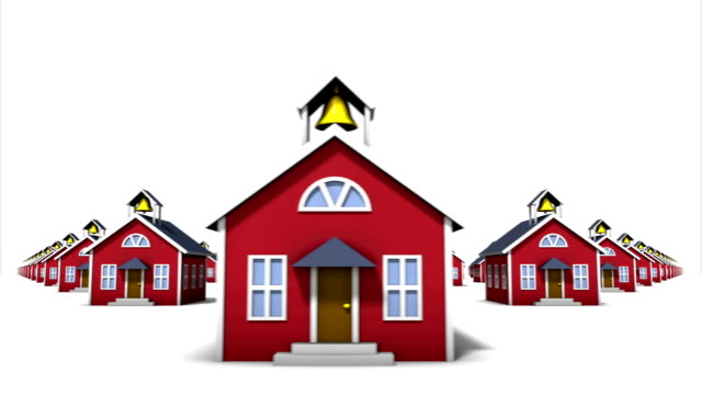 Endlose School Häuser, Vorderansicht Schleife – Video