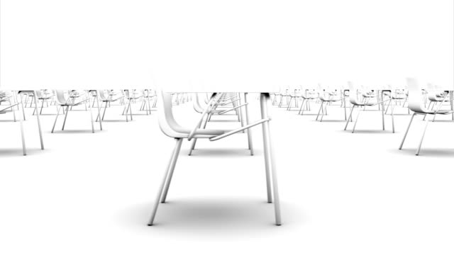 Endlose Schoolchairs Seitenansicht loop (weiß) – Video