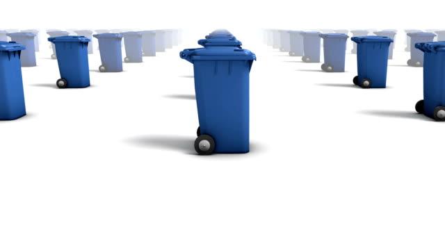 Endless Trashcans side view loop (Blue) video