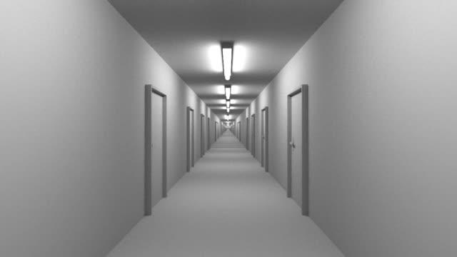 Endless white corridor with doors seamless loop video