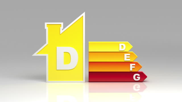 Energy efficiency rating chart. White background.