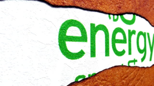 Energy text on torn paper video