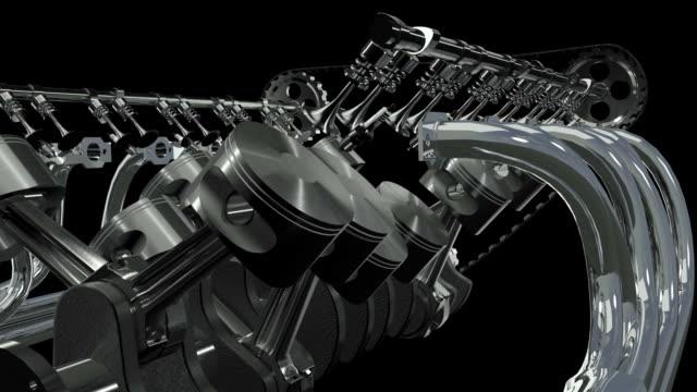 V12 Engine Animation. Loop + Alpha HD video