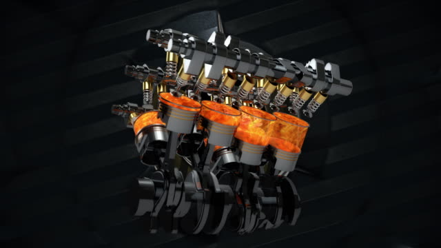 V8 Engine Animation With Explosions And Sparks. Rotating Machines On Background - Loop video