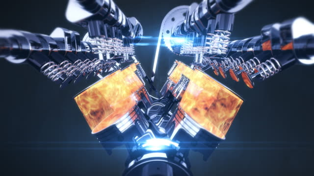 v8 engine animation with explosions - camera slowly moving - silnik filmów i materiałów b-roll
