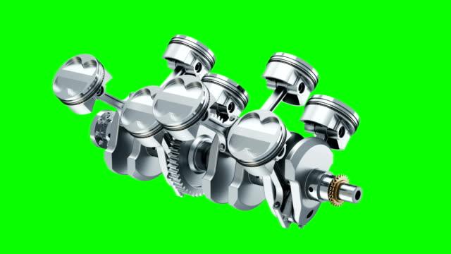 v8 engine crankshaft rotation of animation on chroma key. 3d - silnik filmów i materiałów b-roll