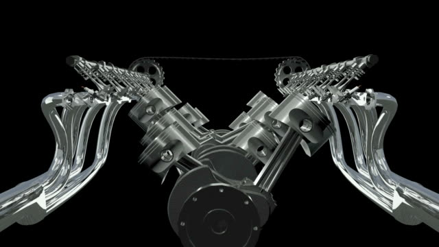V12 Engine Fly Through Animation. video