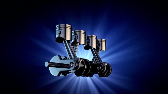 V4 engine pistons and crankshaft on blue background. 3d render animation V4 engine pistons and crankshaft on blue background. 3d render animation crank mechanism stock videos & royalty-free footage