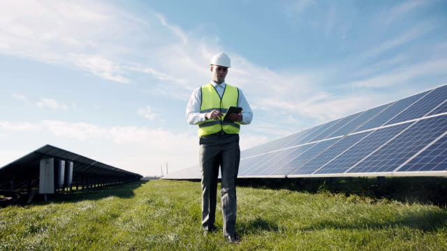 Engineer and solar panels video