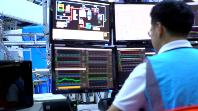 Engineer in control room System control room monitoring power supply stock videos & royalty-free footage