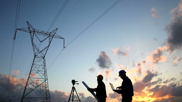 Engineer workers silhouette of engineers workers at electricity station. power stock videos & royalty-free footage