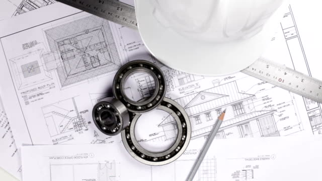 Engineering equipments on the blue prints Engineering equipments rotate on the table endurance stock videos & royalty-free footage