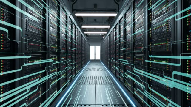 IT engineering, rack servers in the modern data center. Servers close up. Modern data center. Cloud computing. 3d rendering of data for cloud computing. Digitization of information flow passing through the rack servers in the data center. backup stock videos & royalty-free footage