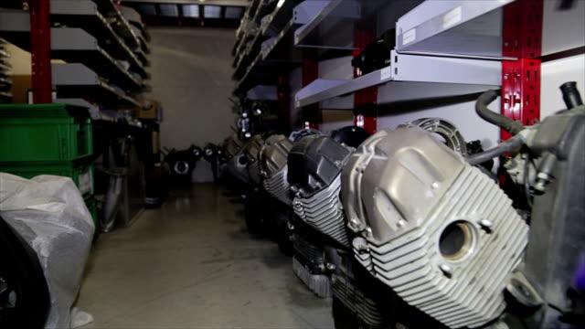 Engines of bike in storage video